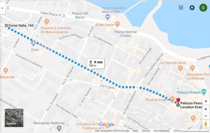 Mappa parcheggio Mola di Bari
